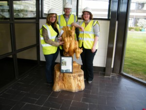 Cllr Fiona McRae, Cllr Hamish Vernal, Cllr Iris Walker at UPM Shotton