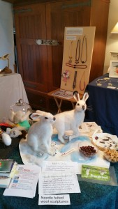 A pair of white hares by Sandra Rettie