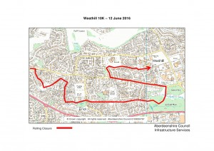Westhill 10k rolling closure